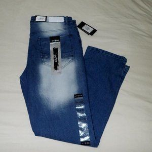 WT02 Men's Slim Straight Fit Blue Jeans